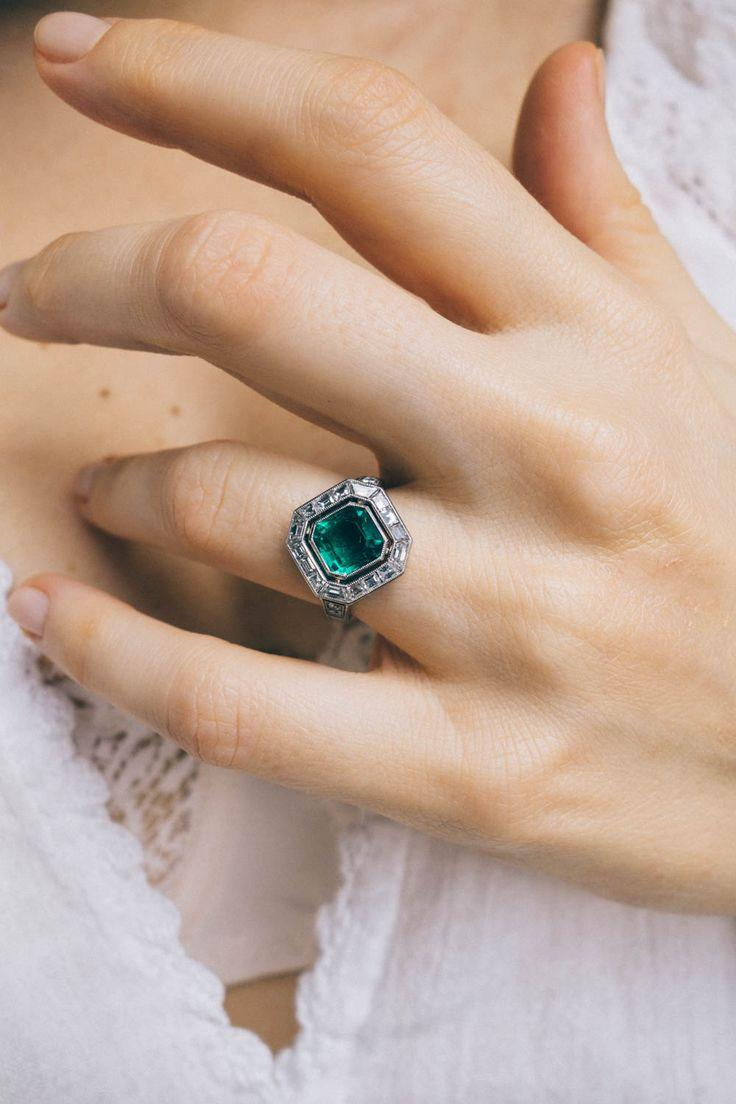 Hochzeit - Art Deco Vintage Cartier Engagement Ring Centering Upon An Emerald-cut Emerald Weighing Approximately 1.60 Carats With AGL Certificate Stating The …