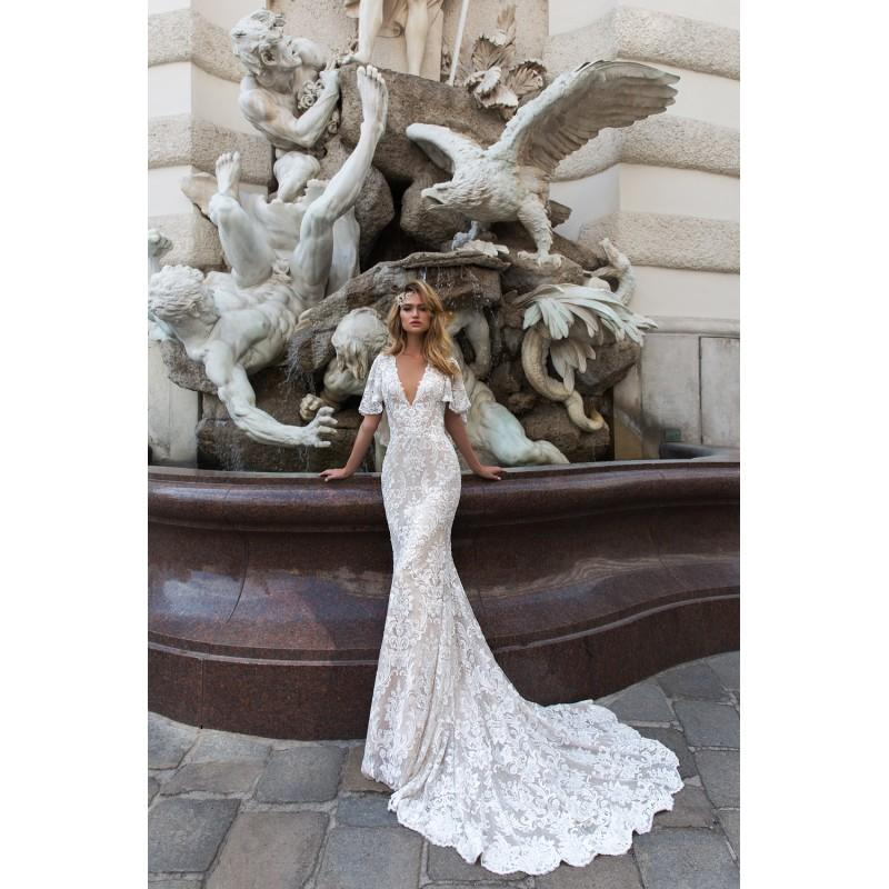 Wedding - Crystal Design 2018 Indira Lace Ivory Embroidery Chapel Train Elegant Fit & Flare V-Neck Butterfly Sleeves Dress For Bride - Bridesmaid Dress Online Shop