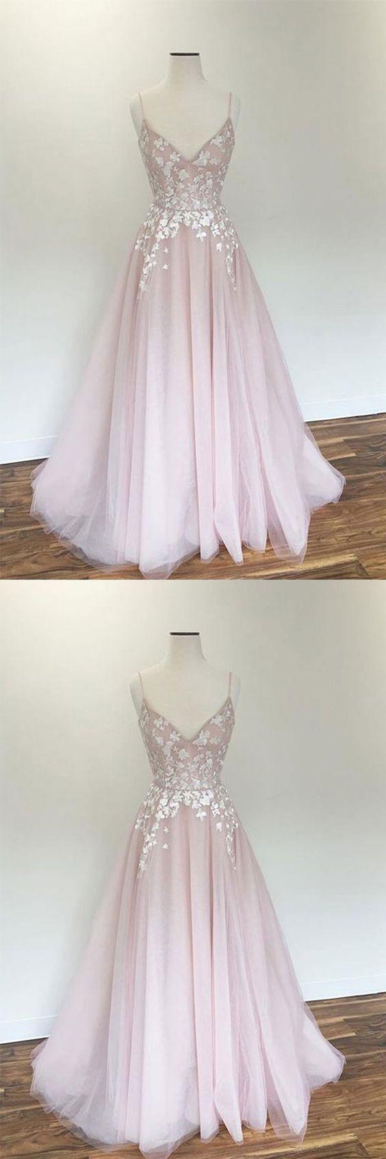 Hochzeit - Light Pink V Neck Tulle Applique Long Prom Dress, Pink Evening Dress