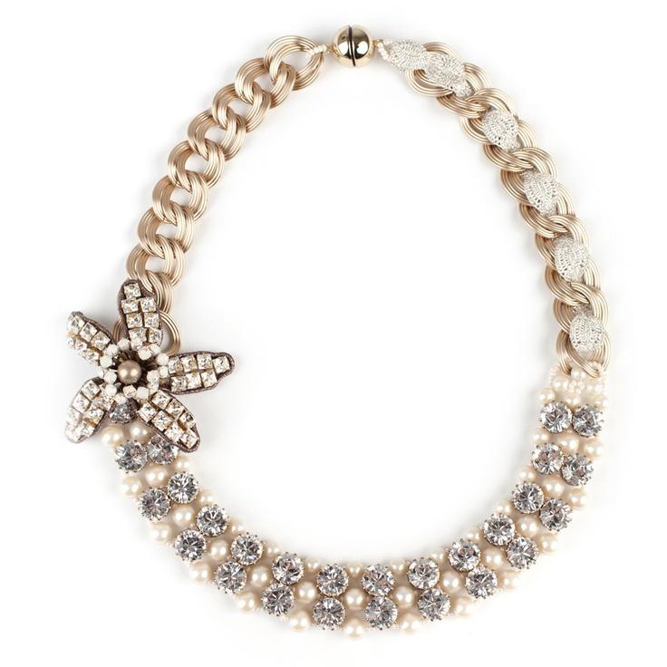 زفاف - Tataborello Crystal Cream Necklace