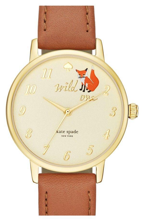 Hochzeit - Kate Spade New York Kate Spade New York 'metro - Wild One' Leather Strap Watch, 34mm