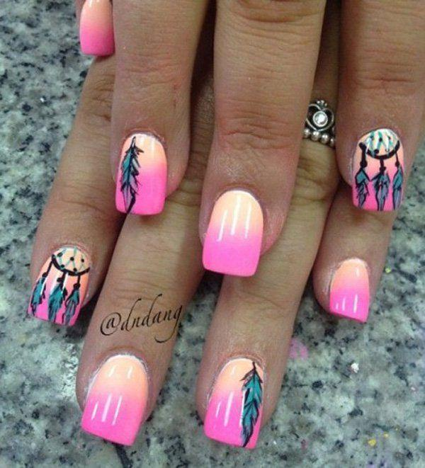 زفاف - 40  Examples Of Feather Nail Art