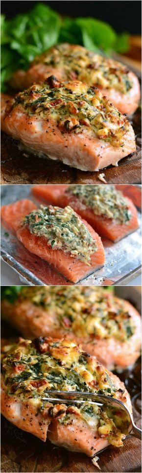Hochzeit - Creamy Spinach And Sun-Dried Tomato-Stuffed Salmon