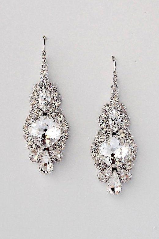 Hochzeit - Art Deco Wedding Earrings - SERENA