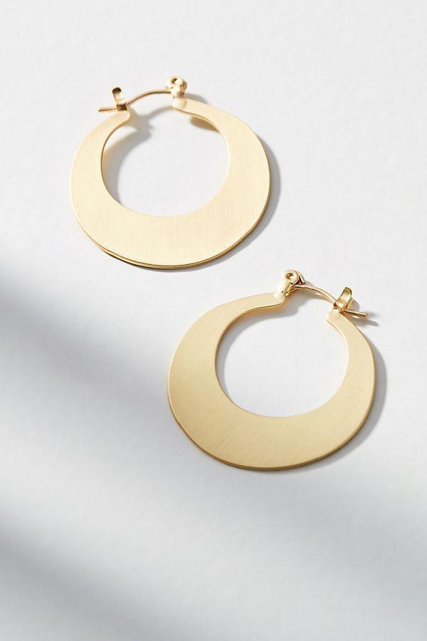 زفاف - Crescent Mini Gold Hoop Earrings