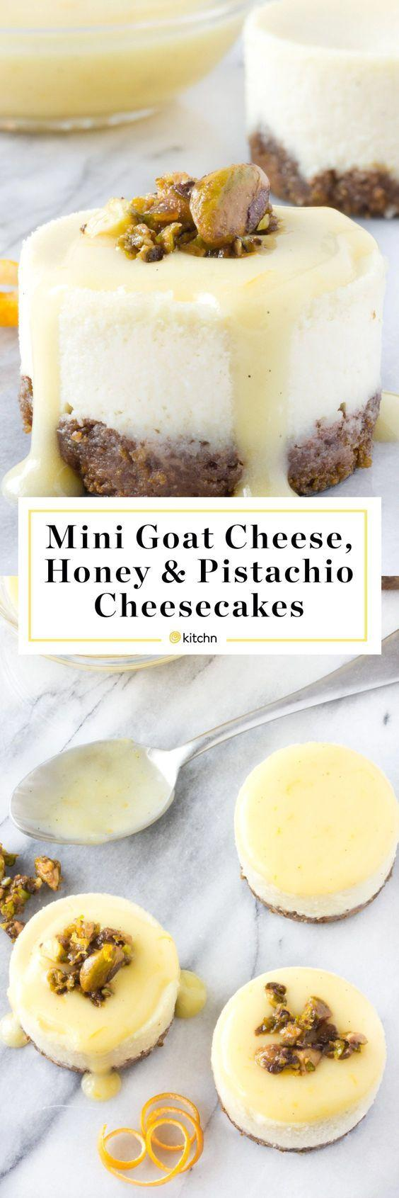 Wedding - Goat Cheese, Honey & Pistachio Mini Cheesecakes With Meyer Lemon Cream