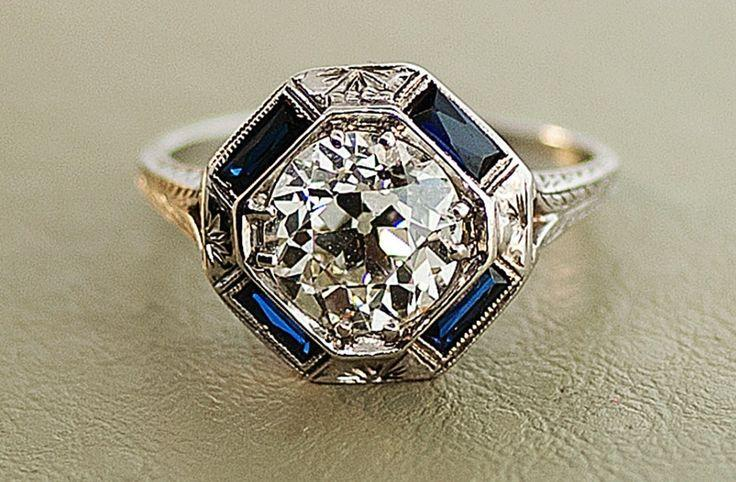 Wedding - 1920s-antique-engagement-ring-with-center-diamond-and-sapphire-accents.full