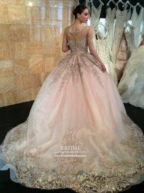 Hochzeit - Pale Pink, Glittery Wedding Gown... Gorgeous!