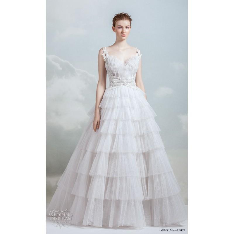 Wedding - Gemy Maalouf 2019 Douce Train Chapelle Chérie Niveaux D'Ivoire Robe Sans Manches Perles Tulle Robe De Mariée - Robes de mariée France