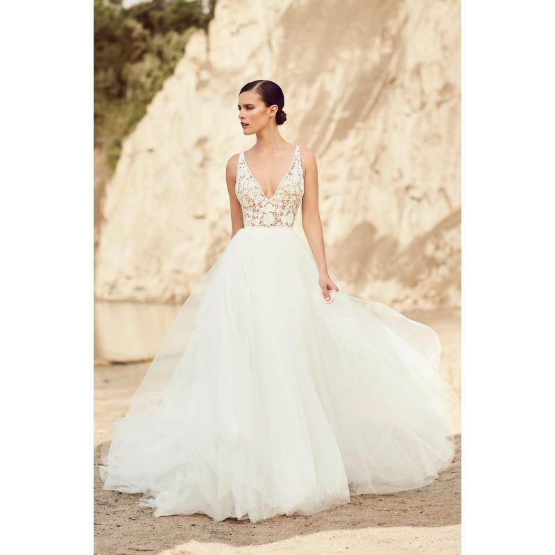 Wedding - Mikaella Spring/Summer 2017 2106 Ball Gown V-Neck Appliques Tulle Sleeveless Sweet Ivory Chapel Train Bridal Gown - Crazy Sale Bridal Dresses
