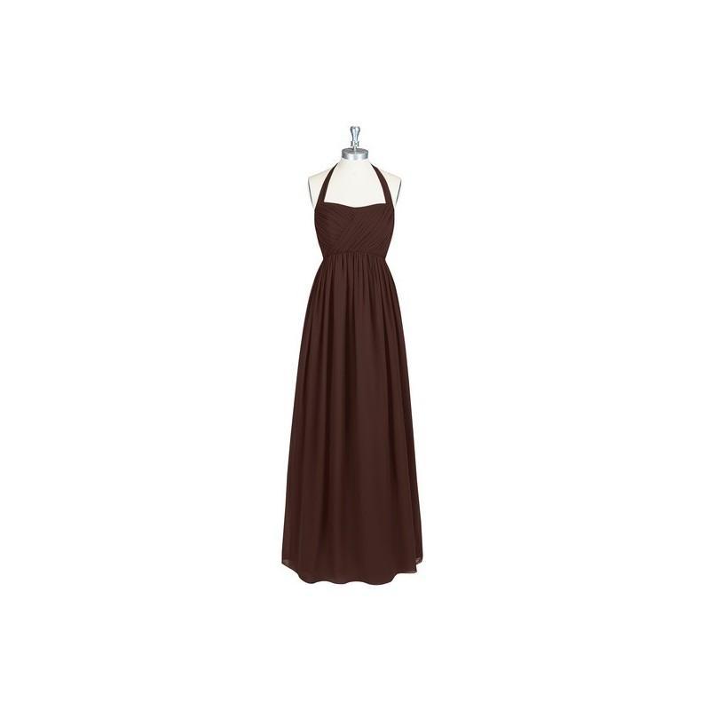 Wedding - Chocolate Azazie Francesca - Floor Length Halter Chiffon Bow/Tie Back Dress - Simple Bridesmaid Dresses & Easy Wedding Dresses