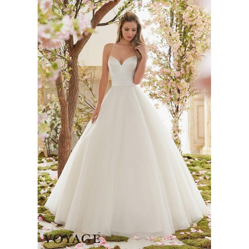 Voyage By Mori Lee 6831 Satin Bodice Tulle Skirt Ball Gown Wedding