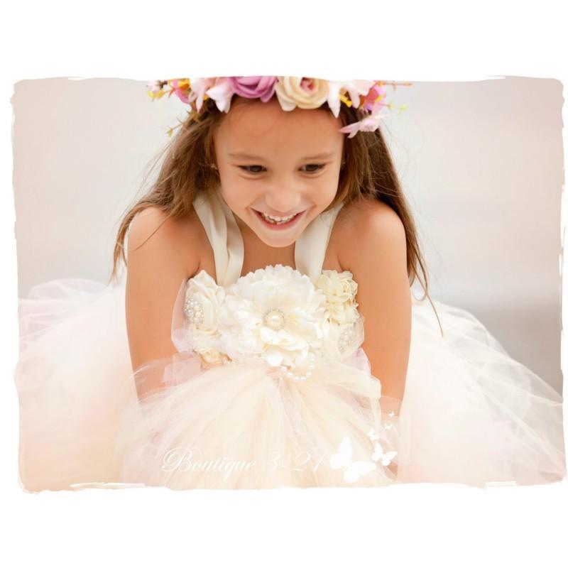 زفاف - Blush Flower Girl Dress, Blush Tutu Dress, Blush Dress, Blush Wedding, Ivory Wedding, Ivory Flower Girl Dress, Ivory Tutu Dress - Hand-made Beautiful Dresses
