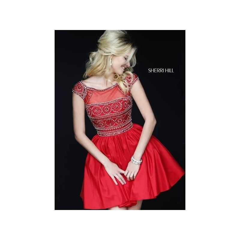 Свадьба - Sherri Hill 32267 Short Sleeve Beaded Homecoming Dress - Crazy Sale Bridal Dresses