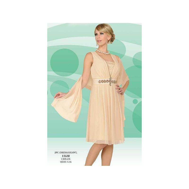 Wedding - Misty Lane by BenMarc Cream Knee Length Dress and Shawl 13530 - Brand Prom Dresses