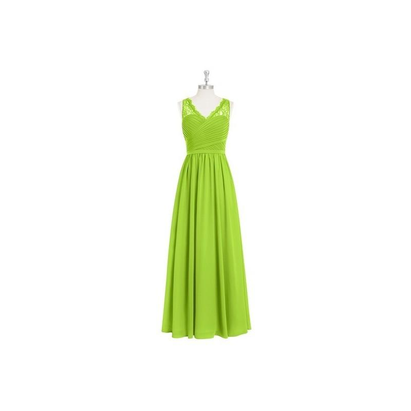 Wedding - Lime_green Azazie Beverly - Chiffon And Lace Floor Length Side Zip V Neck Dress - Simple Bridesmaid Dresses & Easy Wedding Dresses