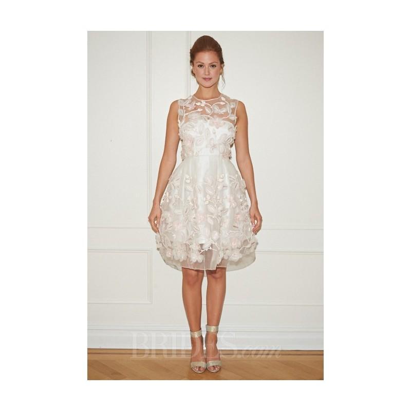 Mariage - Randi Rahm - Fall 2014 - Gidgette Ivory and Blush Knee-Length A-Line Wedding Dress with Floral Applique - Stunning Cheap Wedding Dresses