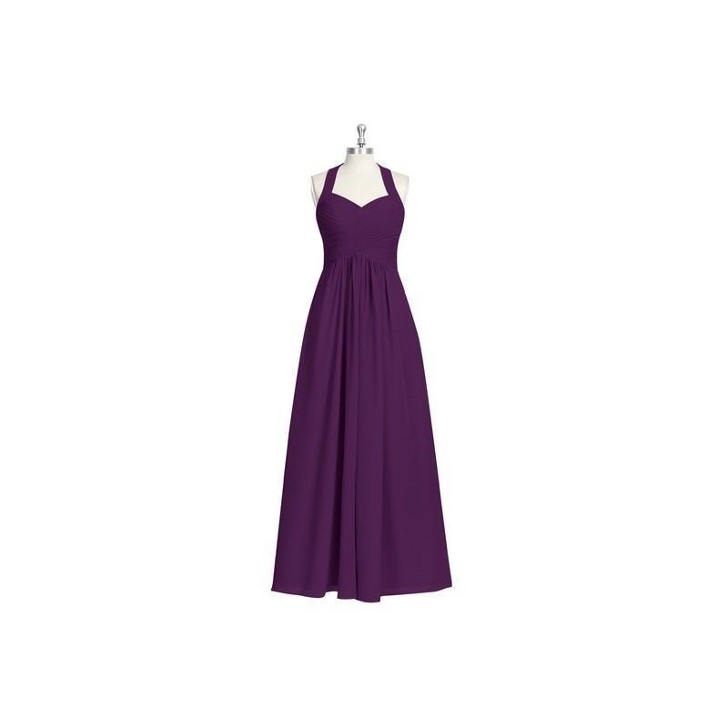Wedding - Grape Azazie Savannah - Chiffon Bow/Tie Back Halter Floor Length Dress - Simple Bridesmaid Dresses & Easy Wedding Dresses