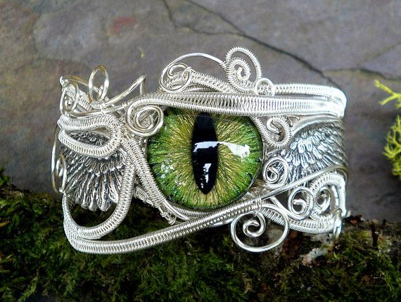 Wedding - Gothic Steampunk Silver Evil Eye Bracelet In Greens 6 And A Half Inches