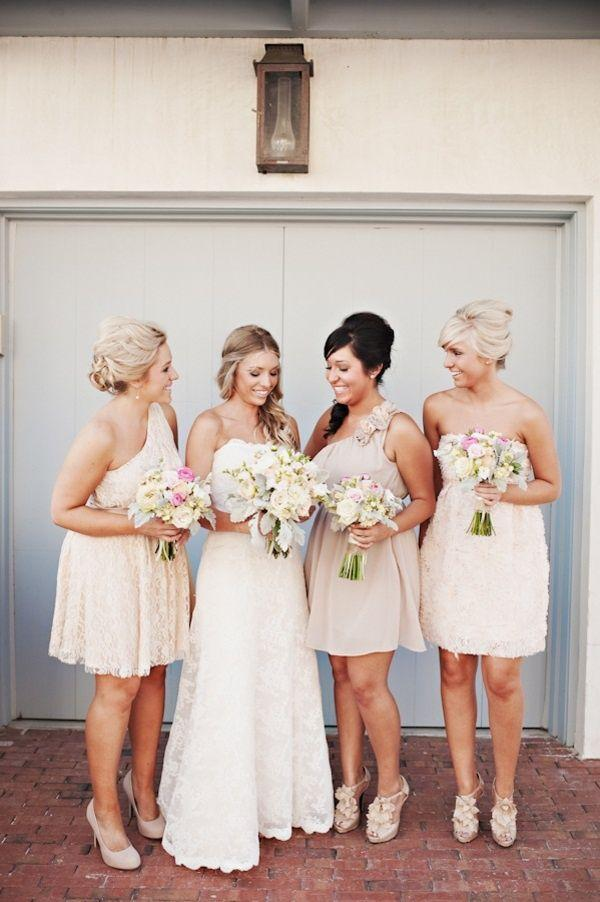 Wedding - Different Short Dresses From A Similar Colour Palette - Emphasising The Bride In A Long White Gown. ~ E.A