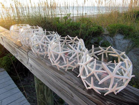 Свадьба - Reserved For Kate, Beach Wedding Starfish Candle Centerpieces, Set Of 10
