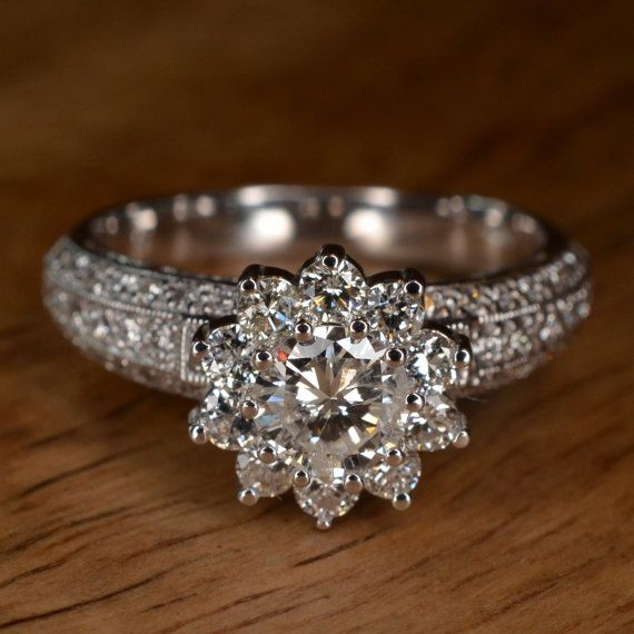 Mariage - RESERVED Diamond Flower Engagement Ring 18k White Gold By JdotC Looks Like My Ring But Upgraded!!!