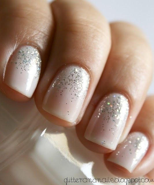 Hochzeit - A Sheer White Polish With A Sparkle Gradient From The Bottom. Very Pretty. I Might Just Have To Try It. (It's Originally A Wedding Manicur…