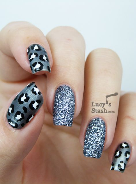 Hochzeit - Gray Leopard Print Nail Art