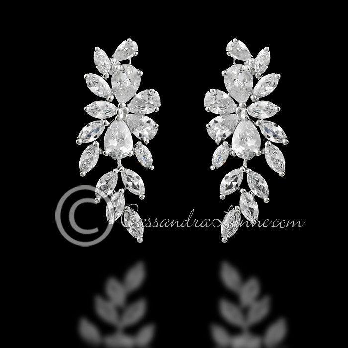 Mariage - CZ Earrings Teardrop Flower Vine Drop