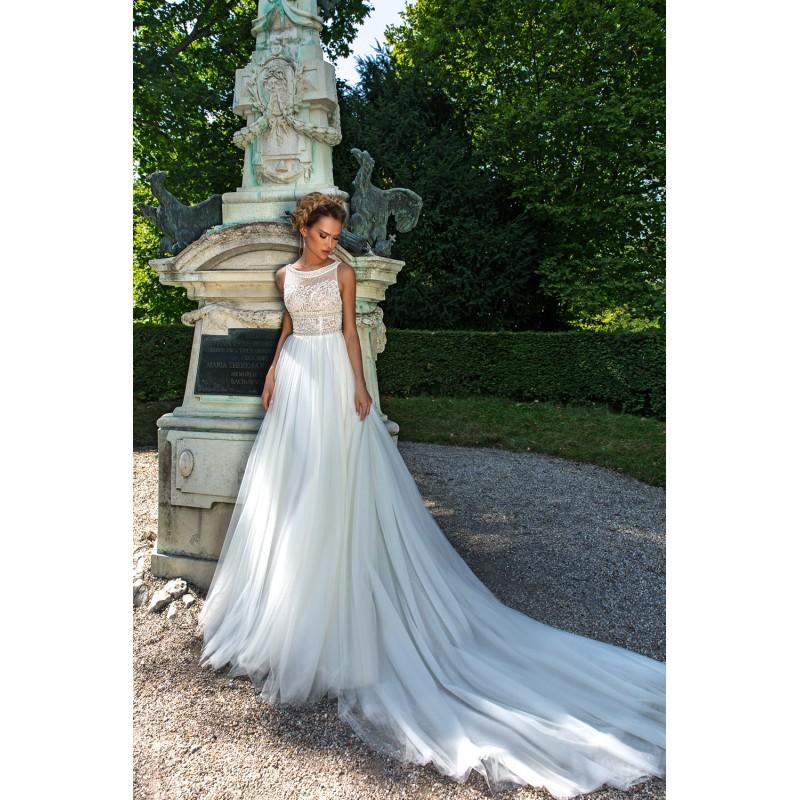 Wedding - Crystal Design 2018 Buffy Chapel Train Simple Ivory Bateau Aline Sleeveless Tulle Appliques Keyhole Back Bridal Gown - Crazy Sale Bridal Dresses