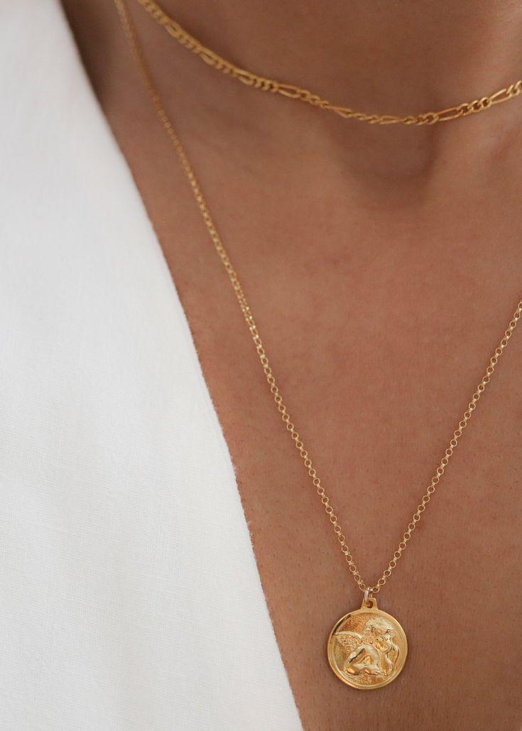 Mariage - Angel Medallion Necklace - Angel Necklace - Medallion Necklace - Coin Necklace Gold - Layering Necklace - Gold Necklace - Christmas Gift