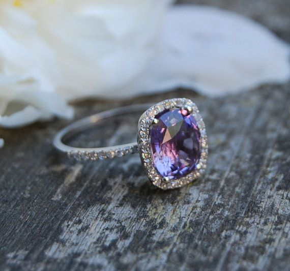 Mariage - Reserved -2.7ct Cushion Plum Color Change Sapphire 14k White Gold Diamond Engagement Ring- Down Payment