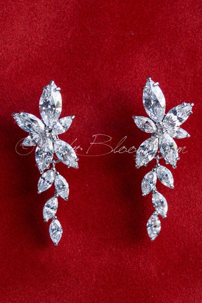 زفاف - Ruby Blooms Is Pleased To Offer You Timeless, Luxury And Feminine Style - Crystal Cubic Zirconia Wedding / Bridal Earrings. Charming…
