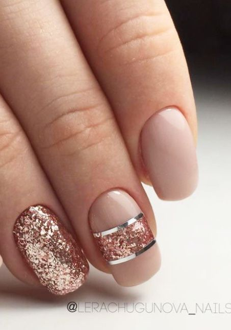زفاف - Peach Nude Nails With Rose Gold And Silver Accents.  #nails #nailart #sparklenails #naildesigns ― Re-pinned By Breanna L. ~Follow Me A…