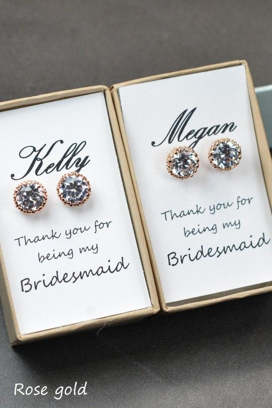 Wedding - Bridesmaids EarringsPersonalized Bridesmaids By ThePeachMambo