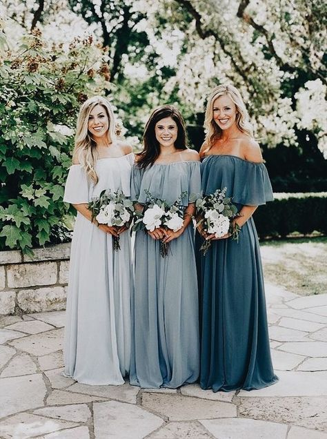 Hochzeit - Long Chiffon Off The Shoulder Slate Gray Mismatched Bridesmaid Dresses Cheap PB10127
