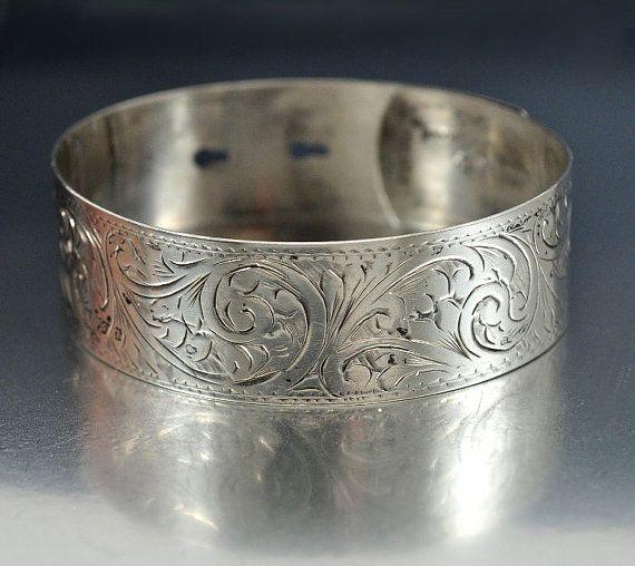 Wedding - Victorian Engraved Sterling Silver Bangle Bracelet English Antique Jewelry Wide Vintage