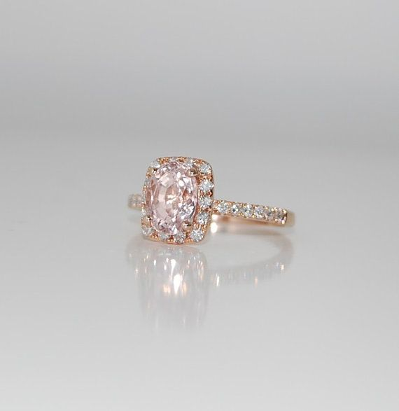 زفاف - 2.5ct Cushion Peach Champagne Sapphire In 14k Rose Gold Diamond Ring