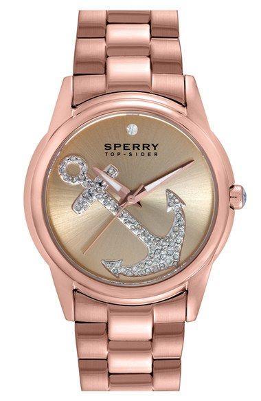 زفاف - Sperry 'Audrey' Pavé Anchor Bracelet Watch, 38mm available at #Nordstrom