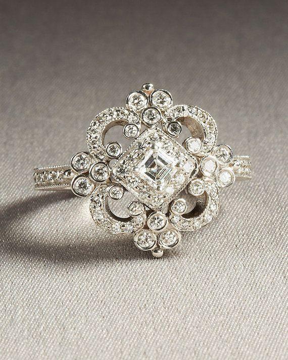 زفاف - DUCHESS - Diamond Engagement Ring Or Right Hand Ring SEMI-MOUNT-14K White Gold - Weddings- Luxury- Brides - Art Deco - BP0011