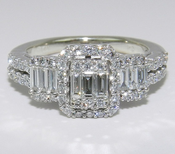 زفاف - 14K White Gold 3Stone Brilliant 1 Ct Diamond By GalaxyGems On Etsy, $1000.00
