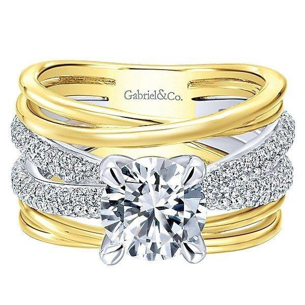زفاف - 18K Yellow And White Gold Stacked Twisted Style Diamond Engagement Ring
