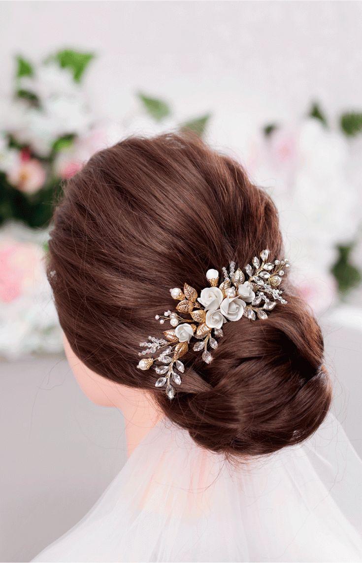 زفاف - XANTHE White Or Ivory Rose Flower Gold Leaf Bridal Hair Comb