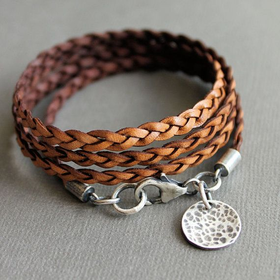 زفاف - Leather Wrap Bracelet Brown Thin Flat Braid Sterling Silver Charm