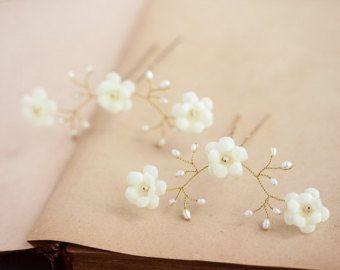 زفاف - 82_Gold Flower Hair Pins,Hair Pin With Pearls,Ivory Wedding Hair Accessories, Hair Pin Ivory, Bridal Hair Flowers, Bride Flower Pin Hair Pin