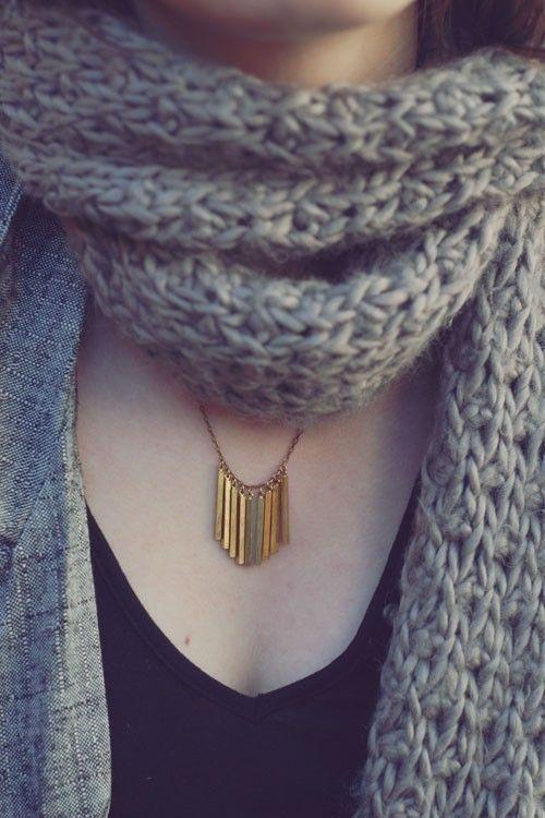 زفاف - Brass Fringe Necklace