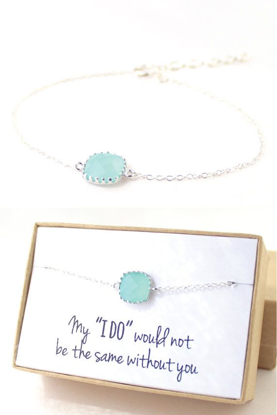 Wedding - Mint Green / Silver Single Square Bracelet Bridesmaid Jewlelry By ForTheMaids, $18.00