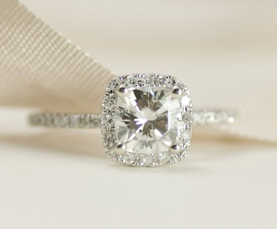 Mariage - CERTIFIED - Cushion Moissanite & Diamonds Ring 14K White Gold