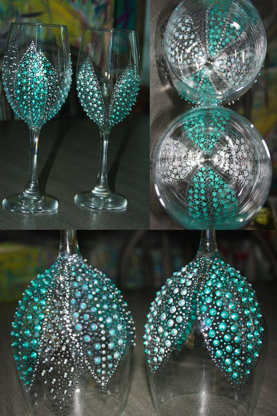 Wedding - Bridal Shower Party Favors!! Hand Painted Wine Glasses Breakfast At Tiffanys By SteeleMagnoliaDesign, $20.00