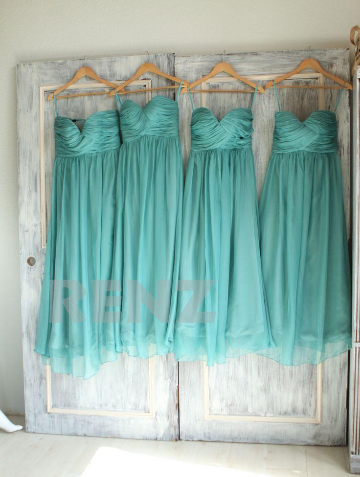 Wedding - Bridesmaid Dress Medium Teal Chiffon Dress,Wedding Dress,Ruched Sweetheart Prom Dress,Strapless Party Dress,Long A-line Maxi Dress(B010E)